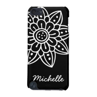 Personalized black white doodle flower iPod case iPod Touch (5th Generation) Cover