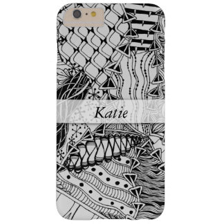 Personalized Black & White Doodled, Tangle ZIA, 03 Barely There iPhone 6 Plus Case