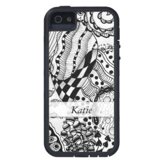 Personalized Black & White Doodled, Tangle ZIA, 04 Tough Xtreme iPhone 5 Case