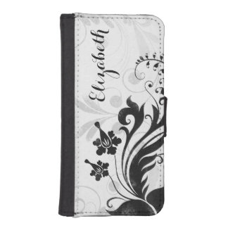 Personalized Black White Floral Elegant iPhone SE/5/5s Wallet Case