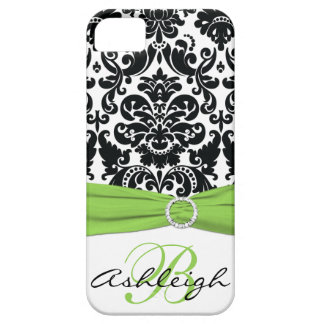 Personalized Black, White, Lime Damask iPhone 5 iPhone 5 Case