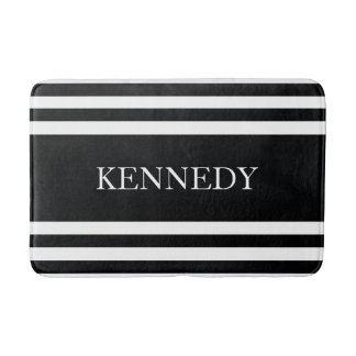 Personalized Black White Nautical Stripes Pattern Bath Mat