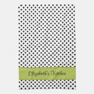 Personalized Black White Polka Dot Green Tea Towel