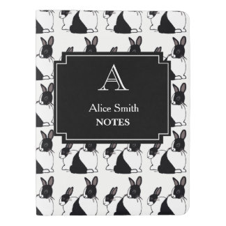 Personalized Black & White Rabbits Notebook