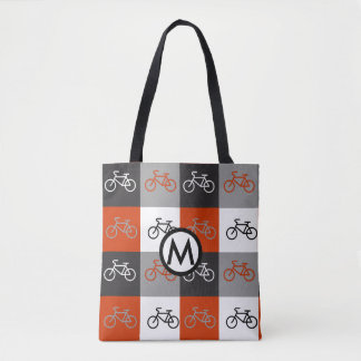 Personalized Black, White, Red and Gray Bike Theme Tote Bag