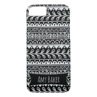 Personalized Black & White Rows of Doodle Patterns iPhone 8/7 Case