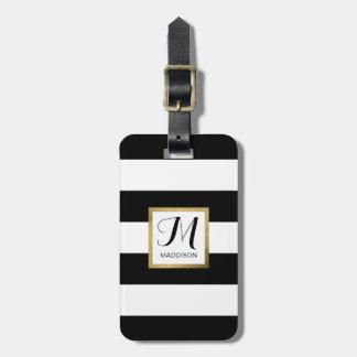 Personalized Black & White Striped Gold Monogram Luggage Tag