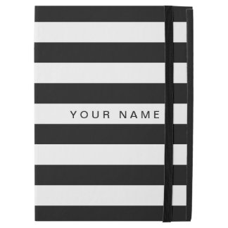 "Personalized Black & White Striped iPad Pro 12.9"" Case"