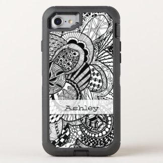 Personalized Black & White Zendoodle Tangle ZIA 08 OtterBox Defender iPhone 8/7 Case