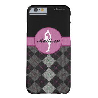 Personalized Black with Pink Argyle Figure Skater Barely There iPhone 6 Case