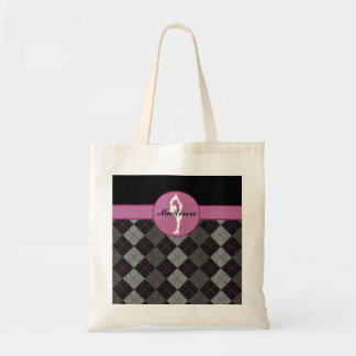 Personalized Black with Pink Argyle Figure Skater Budget Tote Bag