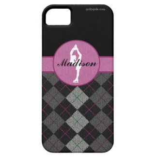 Personalized Black with Pink Argyle Figure Skater iPhone 5 Cases