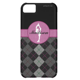 Personalized Black with Pink Argyle Figure Skater iPhone 5C Case