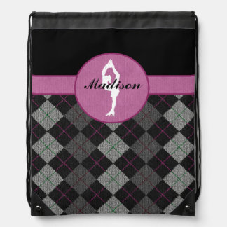 Personalized Black with Pink Argyle Figure Skater Rucksack