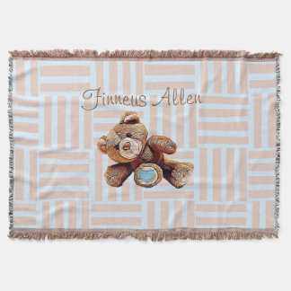 Personalized Blanket, Teddy Bear Blue and Brown Throw Blanket