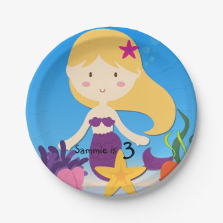 Personalized Blond Mermaid Birthday Paper Plates