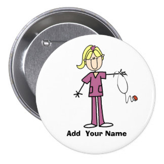 Personalized Blond Stick Figure Nurse  Button