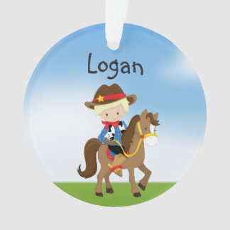 Personalized Blonde Cowboy On Horse Ornament