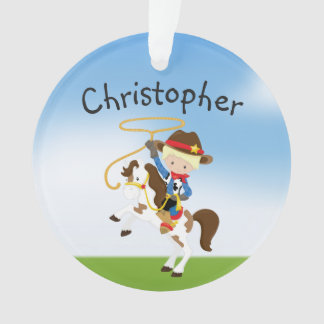 Personalized Blonde Cowboy With Lasso Ornament