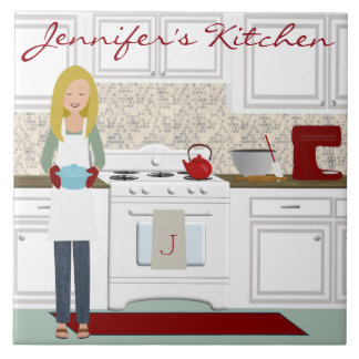 Personalized Blonde Kitchen Cook Tile