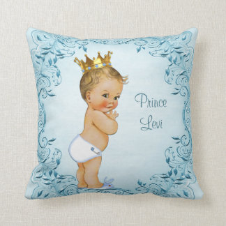 Personalized Blonde Prince Blue Leaves Throw Pillow