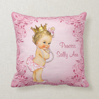 Personalized Blonde Princess Glamorous Pink Cushion