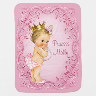 Personalized Blonde Princess Pink Leaves Frame Baby Blanket