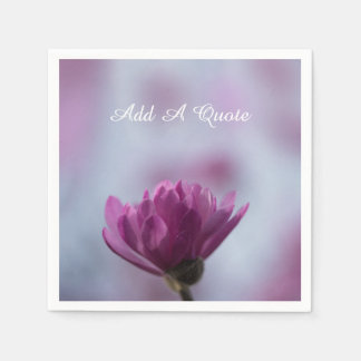 Personalized Blooming Pink Flower Disposable Napkins