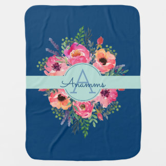 Personalized Blooms baby blanket - Blue & pink