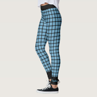 Personalized Blue and Black Plaid with Black Trim Leggings
