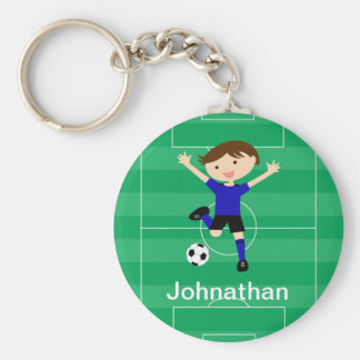 Personalized  Blue and Black Soccer Goal Keychain