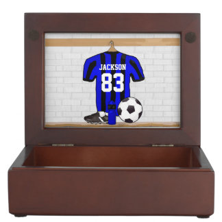Personalized Blue and Black Striped Soccer Jersey Keepsake Box