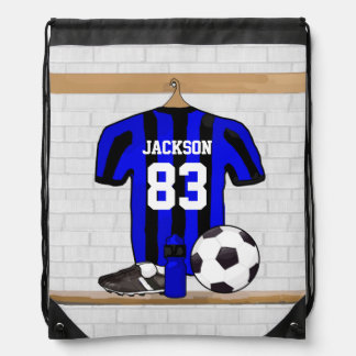 Personalized Blue and Black Striped Soccer Jersey Drawstring Backpack