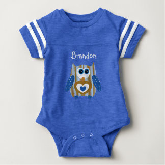 Personalized Blue and Brown Owl Baby One Piece Baby Bodysuit
