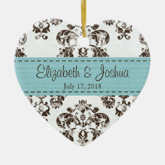 Personalized Blue and Brown Vintage Damask Wedding Christmas Ornament