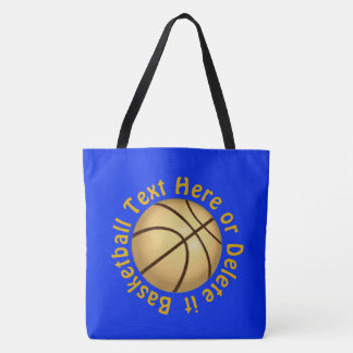 Personalized Blue and Gold Basketball Tote Bag