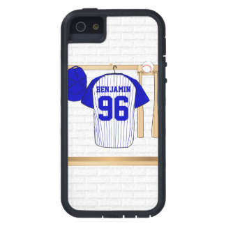 Personalized Blue and White Baseball Jersey iPhone 5 Cases