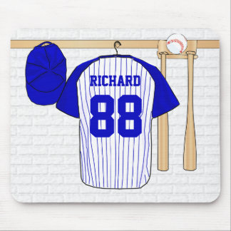 Personalized Blue and White Baseball Jersey Mouse Mat