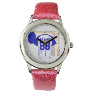 Personalized Blue and White Baseball Jersey Watch