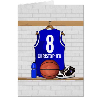 Personalized Blue and White Basketball Jersey Greeting Cards