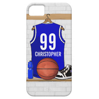 Personalized Blue and White Basketball Jersey iPhone 5 Cover