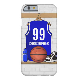 Personalized Blue and White Basketball Jersey Barely There iPhone 6 Case