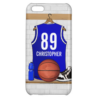 Personalized Blue and White Basketball Jersey iPhone 5C Cover
