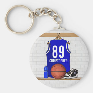 Personalized Blue and White Basketball Jersey Key Ring