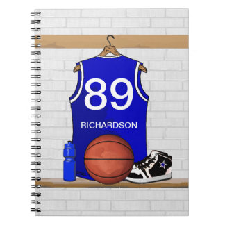 Personalized Blue and White Basketball Jersey Notebook