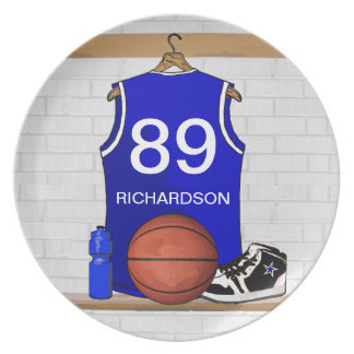 Personalized Blue and White Basketball Jersey Plate