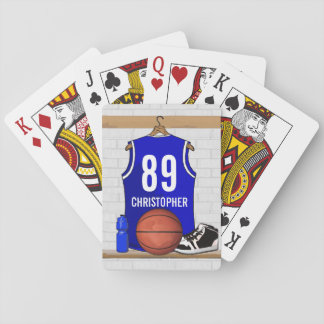 Personalized Blue and White Basketball Jersey Playing Cards