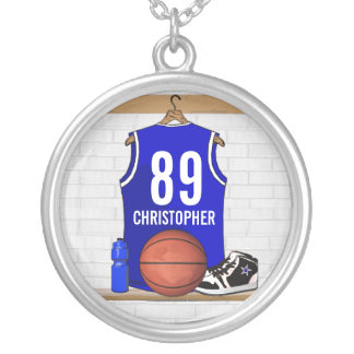Personalized Blue and White Basketball Jersey Silver Plated Necklace