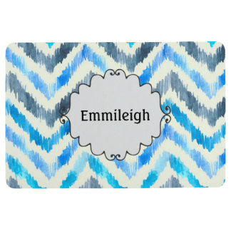 Personalized Blue and White Chevron Floor Mat