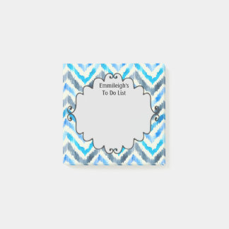 Personalized Blue and White Chevron Post-it Notes